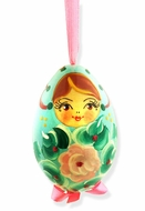 Matreshka, Christmas Wooden Ornament, Hand Painted,  Baby Blue