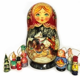 Matreshka Doll With  Wooden Christmas Tree Ornaments