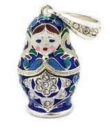 Matreshka Russian Doll Enamel Pendant, Silver 925, Gold Plated