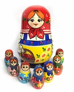 Matreshka  with Basket Berry's and 7 Children