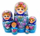 "Matreshka 5 Nesting Wood Doll, ""Floral"" Style, Hand Painted,  Blue"