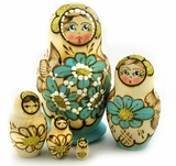 Matrioshka 5 Nested  Woodburn Doll Decorated with Beads, Floral Design