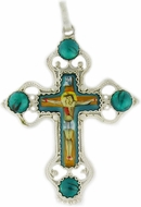 Melchior (Filigree) Cross, with Enamel (Finift) Corpus Crucifix, Green