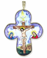 Melchior (Filigree) Cross with Enamel (Finift) Crucifix Icon, Large