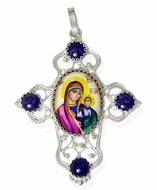 Melchior (Filigree) Cross with Enamel (Finift) Virgin of Kazan Icon