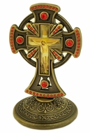 Metal Brass Tone Standing Cross with Red Crystals