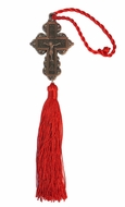 Metal Cross with Corpus Crucifix and Red Tassel