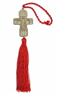 Metal Cross with Corpus Crucifix, Holy Trinity, Saints and Red Tassel