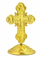 Metal Gold Tone Standing Cross with Corpus Crucifix