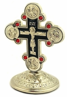 Metal Silver Tone Standing Cross with Red Crystals