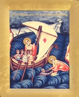 Miracle of St Nicholas: Saving Sailors, Serigraph Orthodox Icon