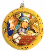 """""""Nativity"""", Christmas Circle Ornament Decorated With Stars"""