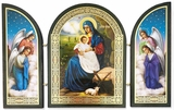 Nativity  Icon Surrounded by Angels, Gold Foil Triptych