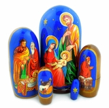 The Nativity of Christ, 5 Nesting Doll, Hand Painted