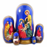 Nativity of Christ, 5 Nesting Doll, Hand Painted