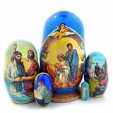 Nativity Of Christ,  5 Nested Wooden Icon Doll, (Assorted)