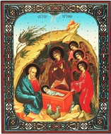 Nativity of Christ,  Christian Orthodox Icon,  Gold and  Silver Foiled