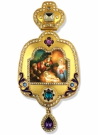 Nativity of Christ, Enameled Framed Icon Ornament