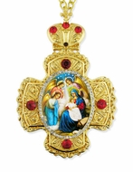 Nativity of Christ, Faberge Style Framed Cross-Shaped Icon Pendant