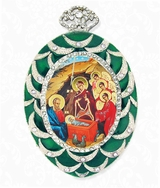Nativity of Christ, Framed Icon  Ornament,  Egg Shaped