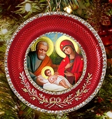 Nativity of Christ   Icon in Round Style Frame with Stand