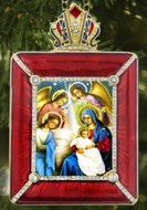 Nativity of Christ  Icon in Square Style Frame with Stand and Chain