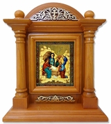 Nativity of Christ, Kiot  Icon  in Wood Shrine with Glass