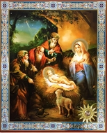 Nativity of Christ, Orthodox Christian Icon With Relic
