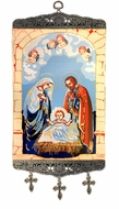 Nativity of Christ, Textile Art  Tapestry Icon Banner with Crosses, Large