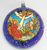 Nativity, Religious Christmas  Ornament, Purple