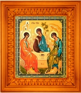 Old Testament Trinity, Orthodox  Icon in Wooden Kiot (Shrine) with Glass