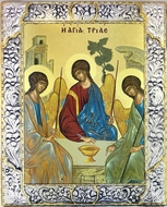 The Holy Trinity (Old Testament Trinity),   Serigraph  Icon in Silver /  Gold Plated Riza
