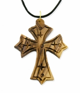 Olive Wood Cross on Rope, 2 1/2""