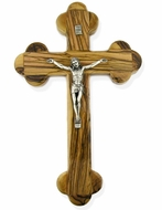 Olive Wood Wall Cross  with Metal Corpus Crucifix
