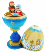 ONE PIECE Nativity of Christ  Wooden Egg with Surprise
