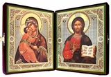 Matching Set of  Orthodox Christian Icons  in Velvet Case