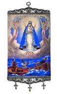 "Our Lady of Charity, Tapestry Icon Banner, 17"" H"