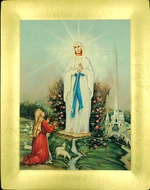 Our Lady of Fatima, Serigraph Icon with  Stand