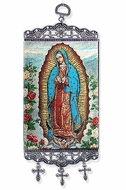 Our Lady of Guadalupe, Tapestry Icon Banner, Blue