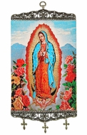 Our Lady of Guadalupe, Textile Art  Tapestry Icon Banner Large
