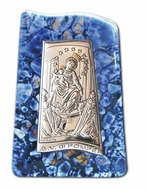 Our Lady of Mount Carmel, Silver Icon on Murano Style Glass with Stand