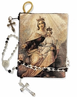 Our Lady of Mount Carmel, Tapestry Rosary Icon Pouch, Reversible