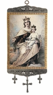 Our Lady of Mount Carmel, Textile Art  Tapestry Icon Banner, 18""