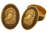 Oval Birch Box with  Icon of Virgin of Kazan, Hand Made