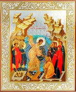 Resurrection of Christ, Orthodox Christian Icon with Stone From Holy Land