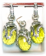 Peridot Set of Earrings with Egg Pendant,  Sterling Silver 925