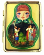 "Pill Box  and  Mirror  ""Russian Folk Motives"""
