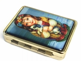 "Pill Box  and  Mirror with Image ""Girl With Puppy"""