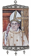 "Pope Francis, Tapestry Icon Banner, Large, 17"" H"