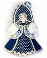 Porcelain Face Doll, Christmas Ornament Decoration, Dark Blue